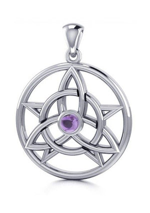 Sterling Silver Druids Amulet Pendant with Amethyst Cabochon