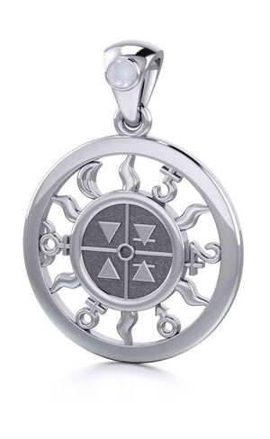 Sterling Silver Four Elements Universal Collective Pendant with Moonstone