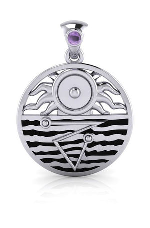 Sterling Silver Four Elements Harmony Pendant with Amethyst