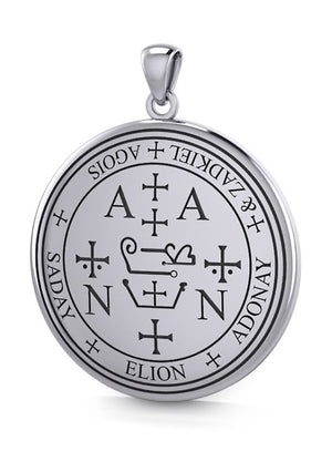 Sterling Silver Sigil Of Archangel Zadkiel Medallion Pendant