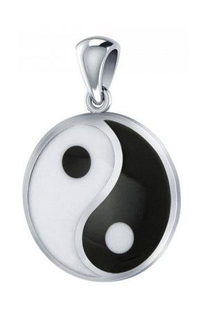 Sterling Silver Black and White Yin Yang Pendant