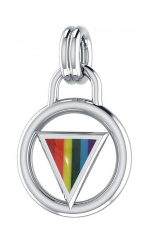 Sterling Silver Encircled Rainbow Triangle Gay Pride Pendant
