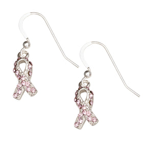 Sterling Silver Pink Swarovski Crystal Breast Cancer Awareness Survivor Earrings
