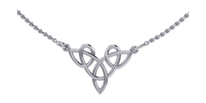 Sterling Silver 16 inch to 18 inch Adjustable Three Point Celtic Knot Necklace