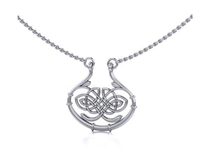 Sterling Silver 16 inch to 18 inch Adjustable Oval Mirror Image Celtic Knot Necklace