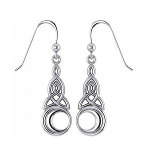 Sterling Silver Celtic Knot Triquetra Earrings with Crescent Moon