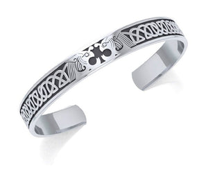 Sterling Silver Celtic Dragons Cuff Bracelet