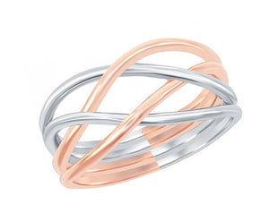 Sterling Silver and Rose Gold Color Wire Weave Ring