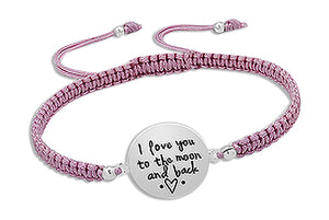 "Sterling Silver 6 to 9 inch Adj ""I Love You To the Moon and Back"" Pink Cord Bracelet"