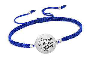 "Sterling Silver 6 to 9 inch Adj ""I Love You To the Moon and Back"" Blue Cord Bracelet"