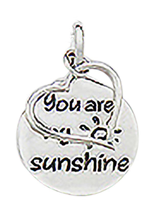 "Sterling Silver ""You Are My Sunshine"" ""Be My Valentine"" Floating Heart Pendant"