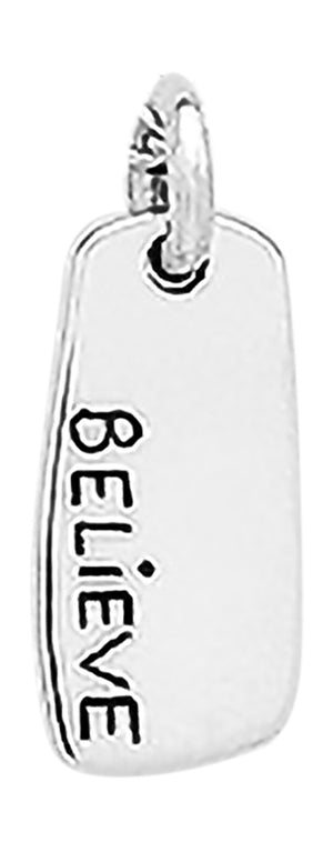 "Sterling Silver ""Believe"" Rectangular Pendant"