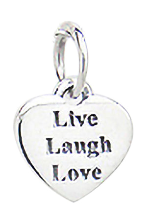 "Sterling Silver ""Live"" ""Love"" ""Laugh"" Heart Pendant"
