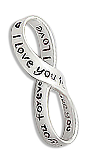 "Sterling Silver ""I Love You Forever"" Infinity Knot Pendant"