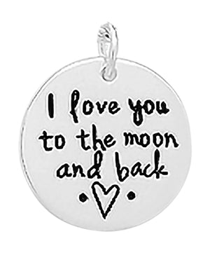 "Sterling Silver ""I Love You To the Moon and Back"" Round Disk Pendant"