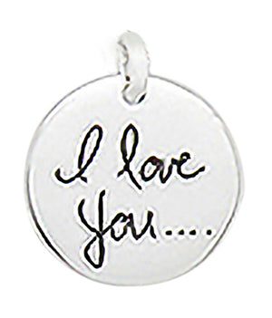 "Sterling Silver ""I Love You..."" Round Disk Pendant"