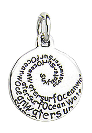 "Sterling Silver ""Surf Ocean Water"" Wave Scroll Round Message Disk Pendant"
