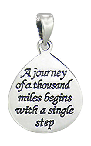 "Sterling Silver ""A Journey Of a Thousand Miles Begins with a Single Step"" Pendant"