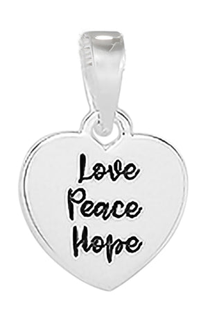 "Sterling Silver ""Love Peace Hope"" Heart Pendant"
