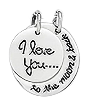 "Sterling Silver ""I Love You... To the Moon and Back"" Two-piece Floating Moon Pendan"