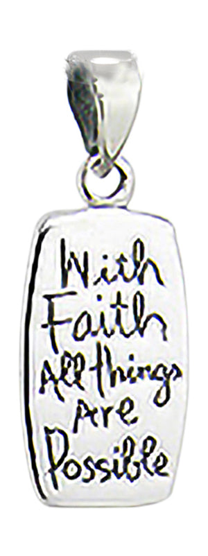 "Sterling Silver ""With Faith All Things Are Possible"""