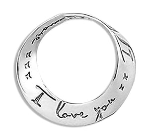 "Sterling Silver ""I Love You - I Love You More"" Moebius Floating Pendant"