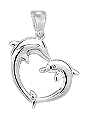 Sterling Silver Kissing Dolphins Heart Pendant