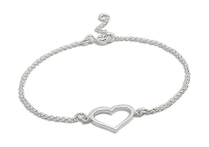 Sterling Silver 7 to 8 inch Adj Open Heart Rolo Chain Bracelet