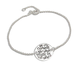 "Sterling Silver 7 to 8 inch Adj ""Be the Change You Wish To See in the World"" Bracelet"