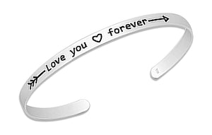 "Sterling Silver ""Love You Forever"" Arrow Cuff Bracelet"