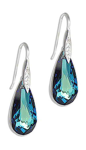 Sterling Silver Teardrop Bermuda Blue Swarovski Crystal Hook Earrings with Cubic Zirconias