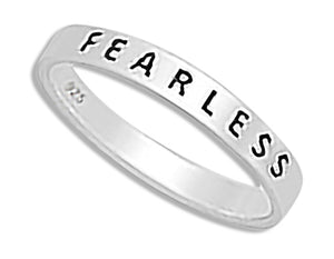 "Sterling Silver ""Fearless"" 3mm Flat Band Ring"