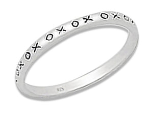 "Sterling Silver ""Xoxo"" Band Ring"