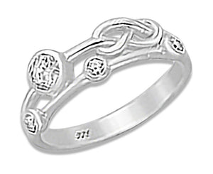 Sterling Silver Infinity Knot Cubic Zirconia Scatter Ring