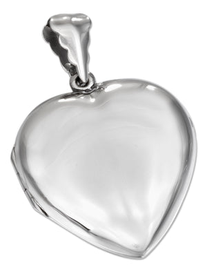 Sterling Silver High Polished Flat Heart Locket
