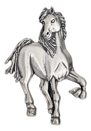 Sterling Silver High Polish Prancing Horse Pin Pendant