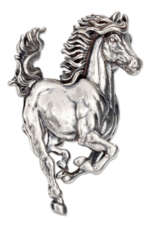 Sterling Silver Large Side View Galloping Horse Pin Pendant