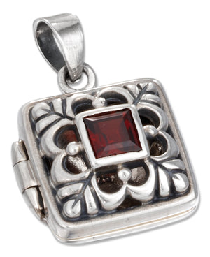 Sterling Silver Square Filigree Locket with Garnet