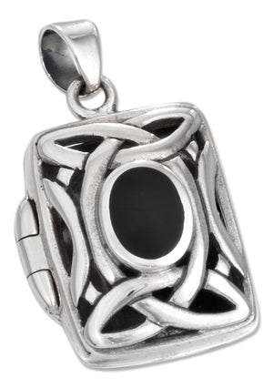 Sterling Silver Filigree Locket with Simulated Onyx and Celtic Knots