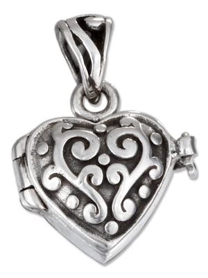 Sterling Silver Scrolled Heart Prayer Box Locket with Antiqued Finish