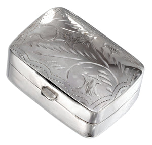 Sterling Silver Rectangular Pill Box with Etched Design