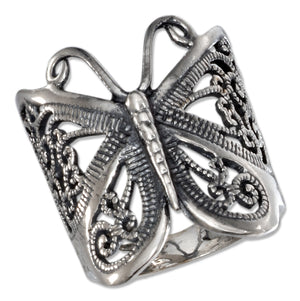 Sterling Silver Antiqued Butterfly Filigree Ring