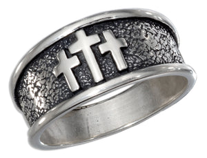 Sterling Silver Mens Antiqued Band Ring with Three Crosses