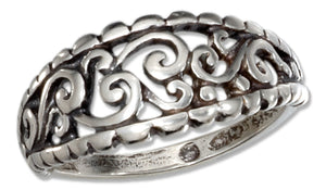 Sterling Silver Antiqued Filigree Dome Ring