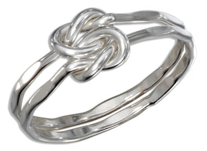 Sterling Silver Heavy Gauge Double Love Knot Ring