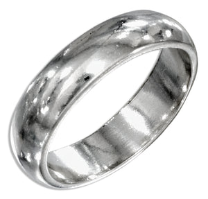 Sterling Silver 5mm High Polish Wedding Band Ring