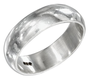 Sterling Silver 6mm High Polish Wedding Band Ring