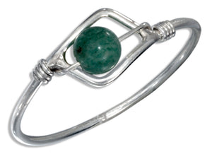 Sterling Silver Aventurine Bead Wire Ring