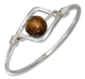 Sterling Silver Wire Ring with Tiger Eye Bead
