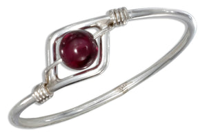 Sterling Silver Wire Ring with Garnet Bead